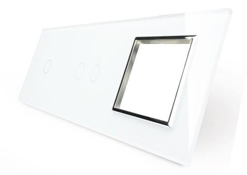 Vl C7012g 61 Potrójny Włącznik Dotykowy Gniazdo Elektryczne 16a Livolo Z Białego Szkła Krystalicznego